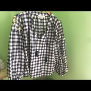 H & M LOGG Blue & White Checked Cotton Blouse